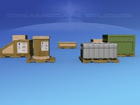 shipping crates 3d 3ds