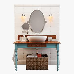 3d bathroom furniture set bath model