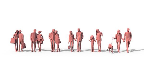 3d people crowd model