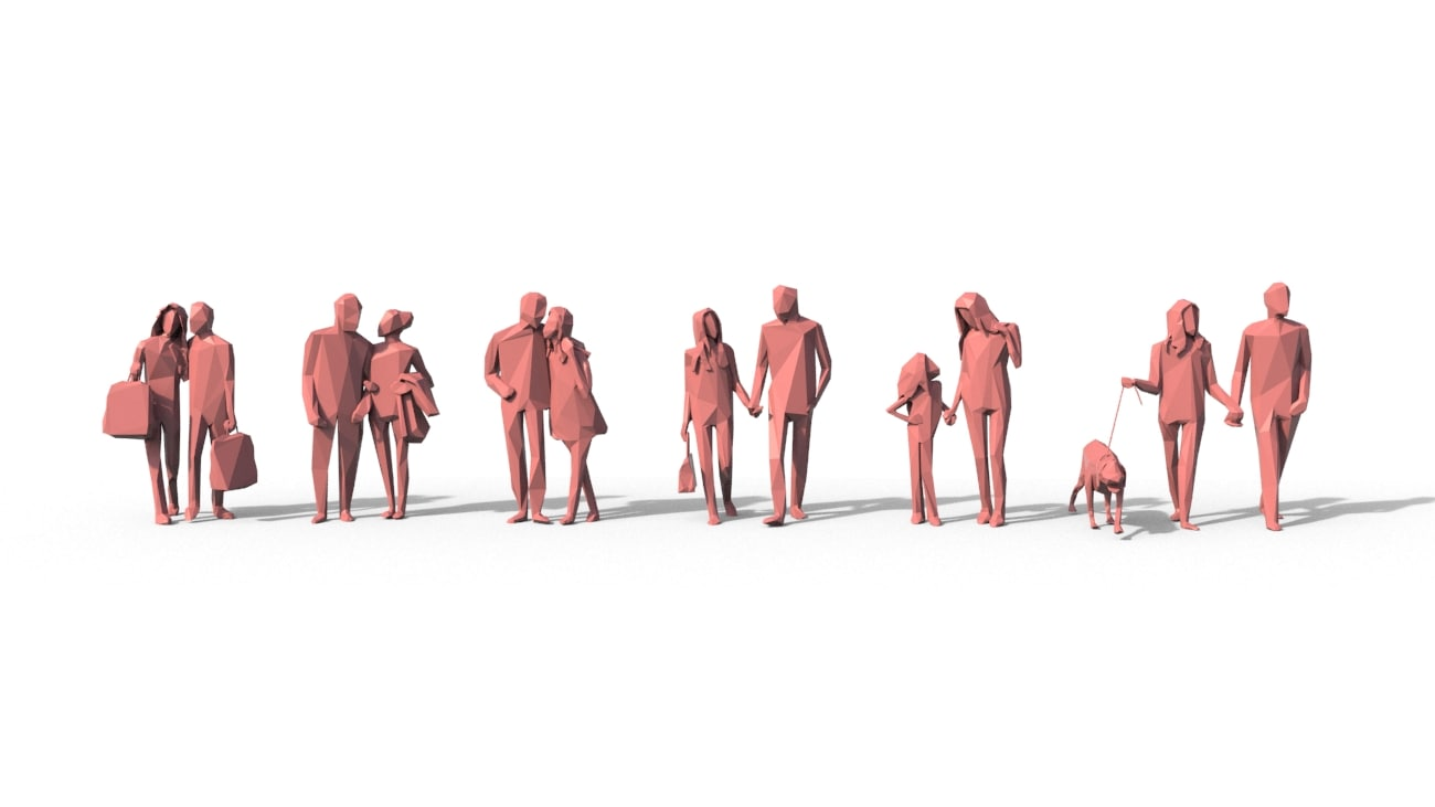 3d people crowd model