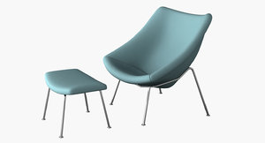 oyster lounge chair 3d model