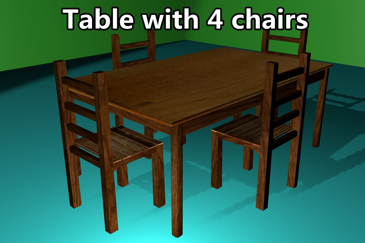 3d model table 4 chairs