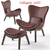 calligaris lazy armchair footstool 3d obj