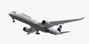 3d fbx airbus a350-900 plane lufthansa