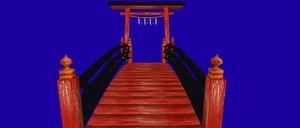 japanese bridge fence torii 3d model
