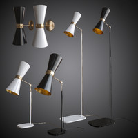 3d model of set table lamps wall