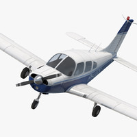 3d piper pa-28-161 cherokee rigged model