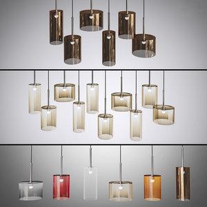 3d model set axolight pendants lamps