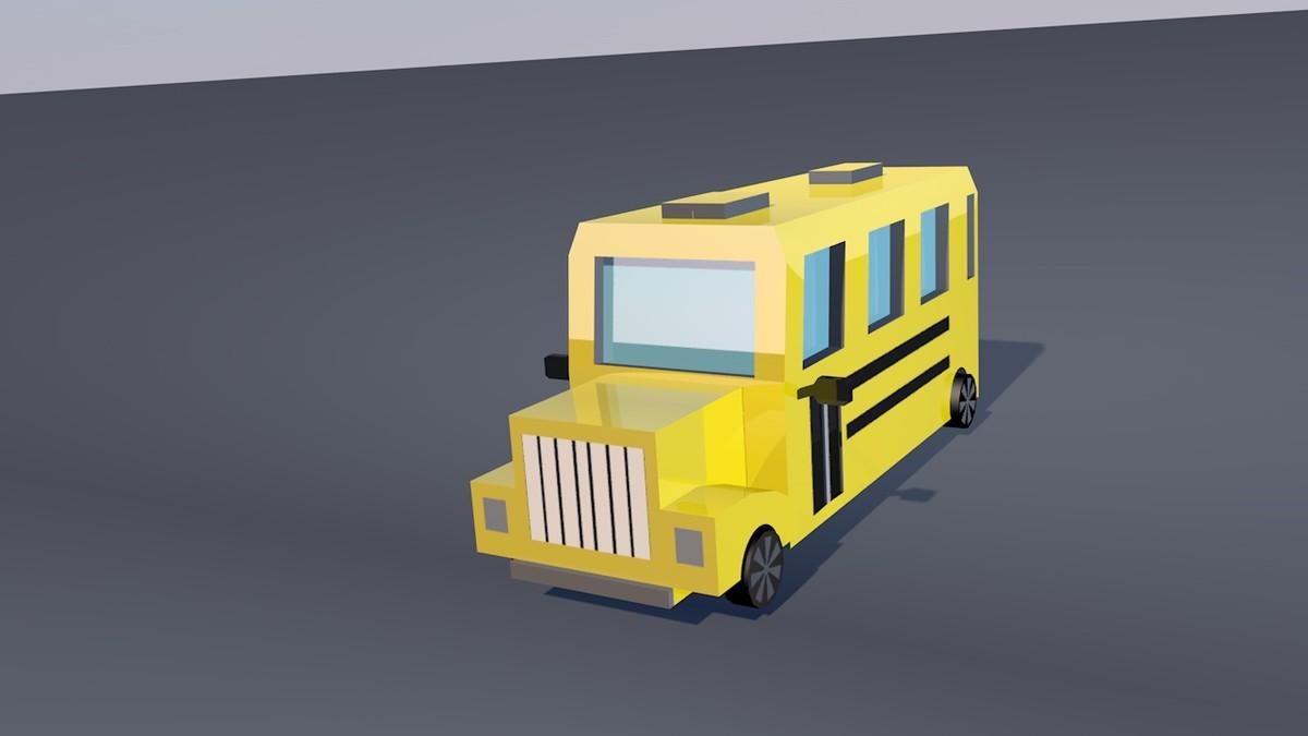 3d low-poly school bus
