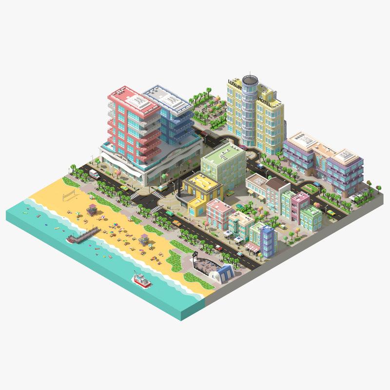 3d model of city beach