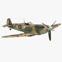 3d model supermarine spitfire rigged