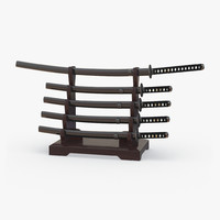 japanese sword katana display 3d model