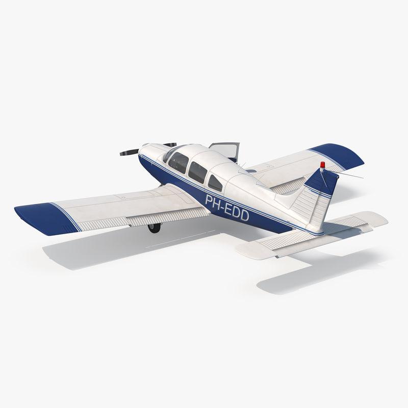 light aircraft piper pa-28-161 3d model