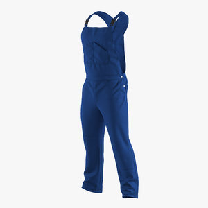 3d blue workwear overalls