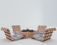 3d japanese chairs table