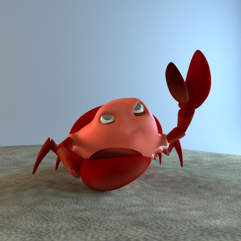 rigged cartoon crab 3d obj