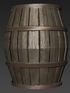 MId/Low Poly Wooden Barrel