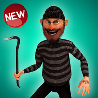rigged cartoon thief 3d max