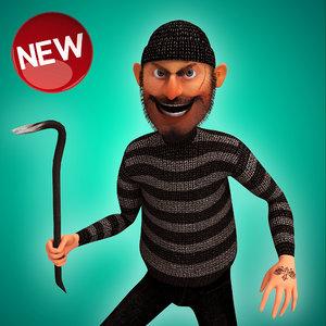 rigged cartoon thief 3d max