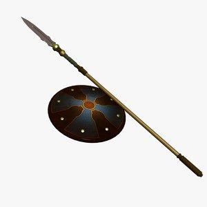 3d model spear shield