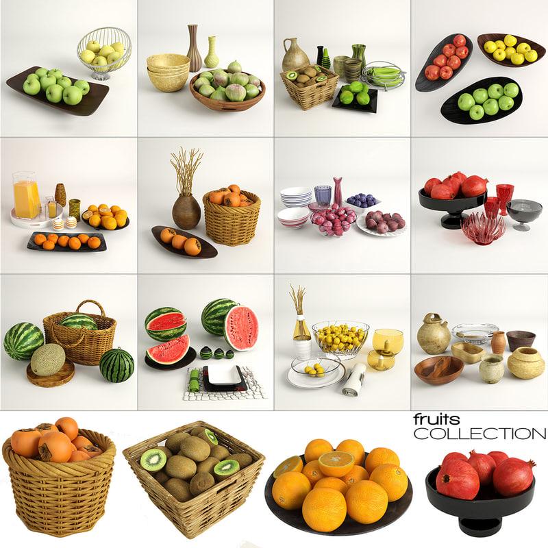 fruits bowls real-time 3d max