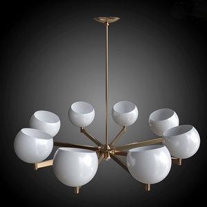 chandelier brass glass globe obj