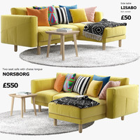 two-seat sofa chaise longue 3d max