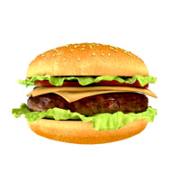 3d model photorealistic hamburger