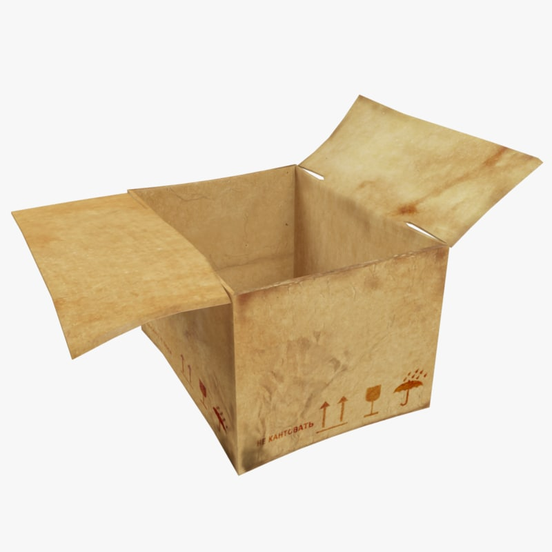 old cardboard box 3d model