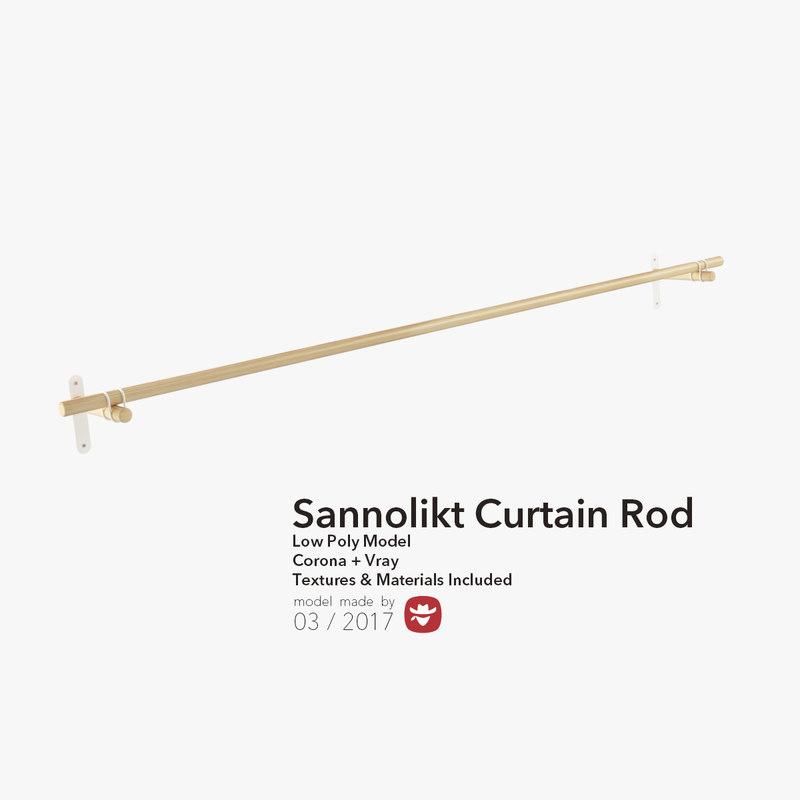 3d max sannolikt curtain rod