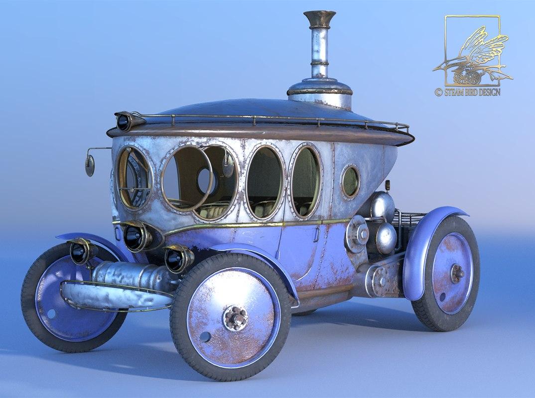 3d steam automobile steampunk punk model