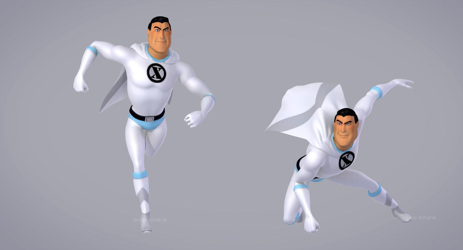 cartoon superhero 3d model rigged