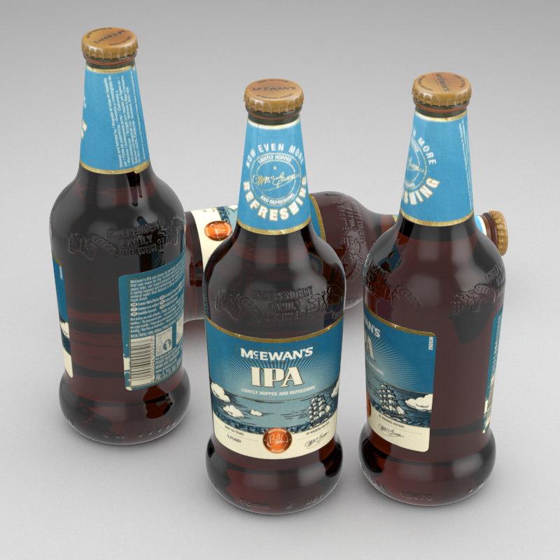 3d model beer bottle mcevans ipa