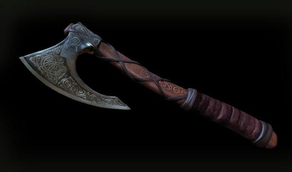 3d skeggox viking bearded battle axe model