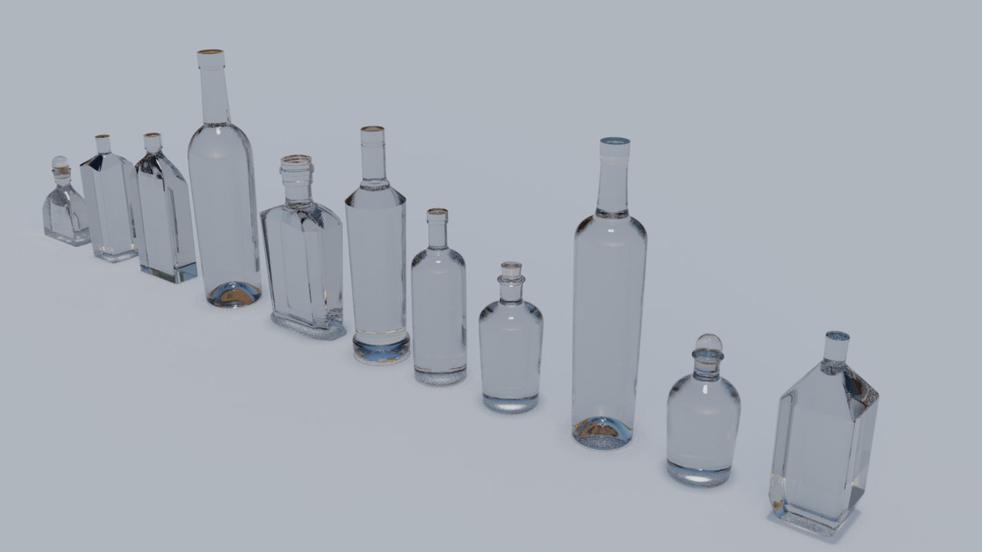 variety glass bottle 3d obj