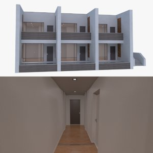 modern resort building interior obj