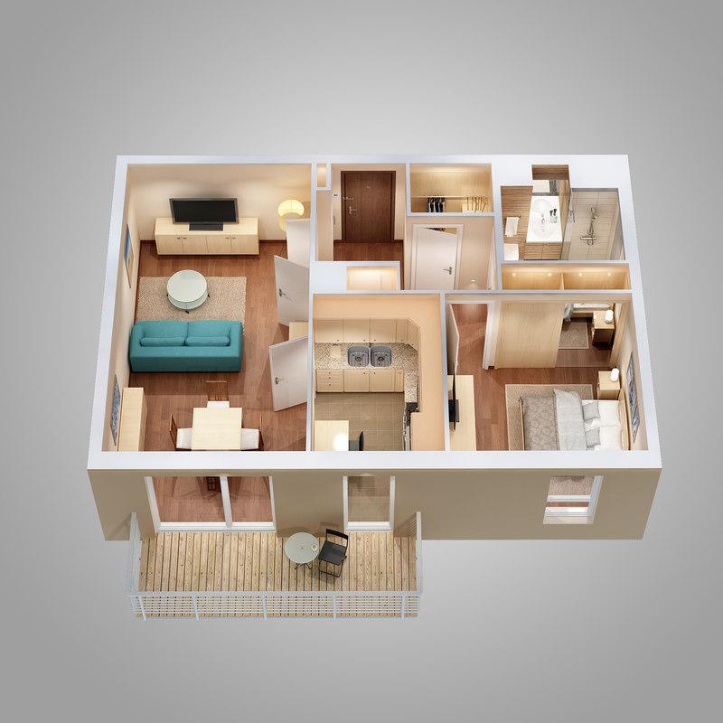 lighting floor plan scene 3d max