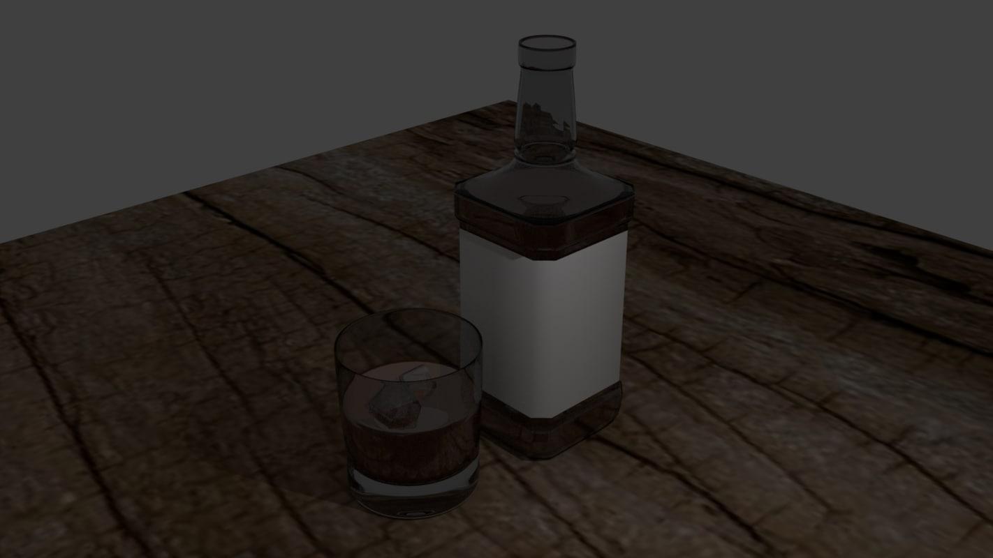 3d whiskey bottle glass model