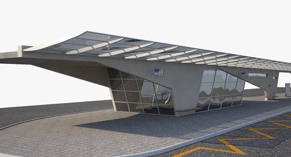 bus station 3d obj