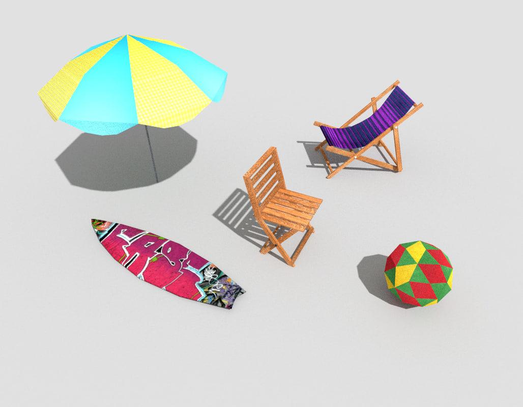 contains 5 beach props 3d obj