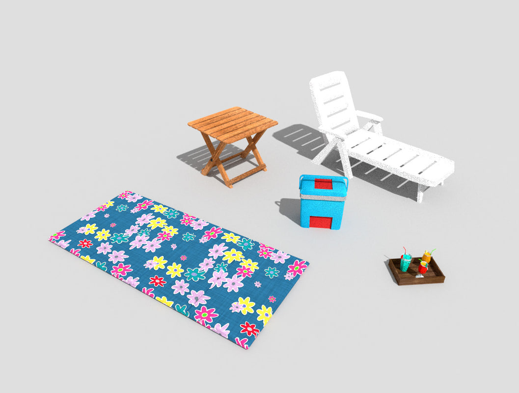 pack 5 beach props 3ds