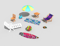 pack 10 beach props 3d model