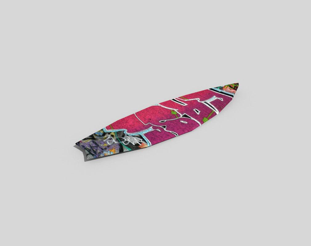 beach surfboard 3d 3ds