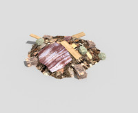 low poly debris pile