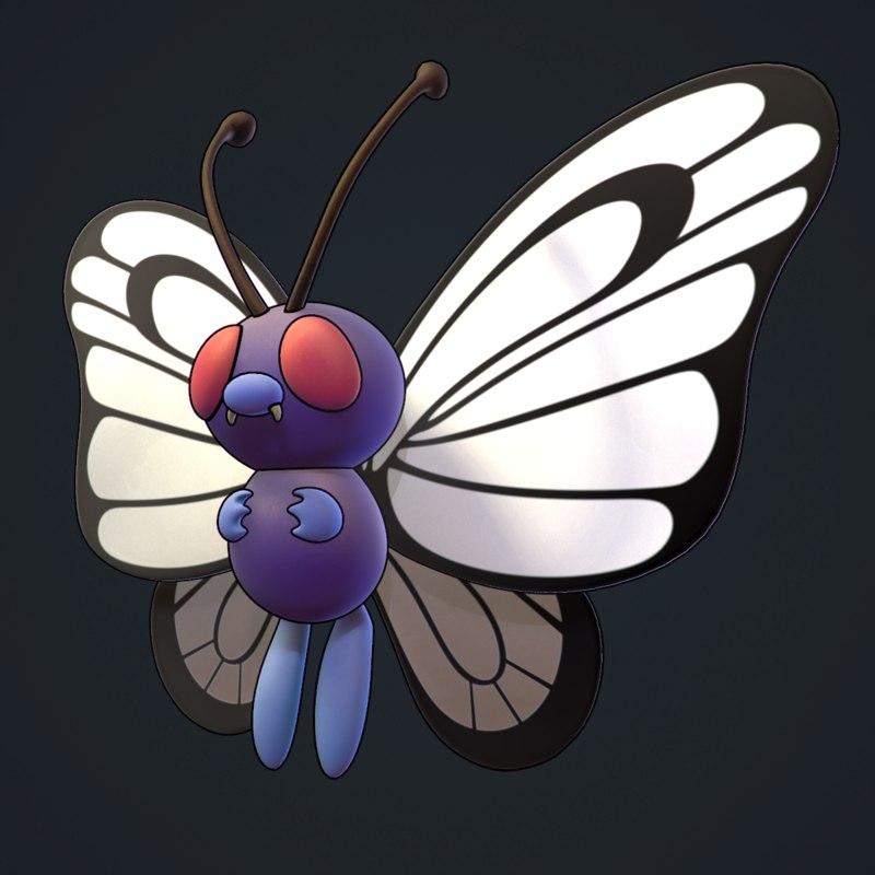 3d model of butterfree pokemon
