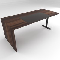 free desk walnut veneer 3d model