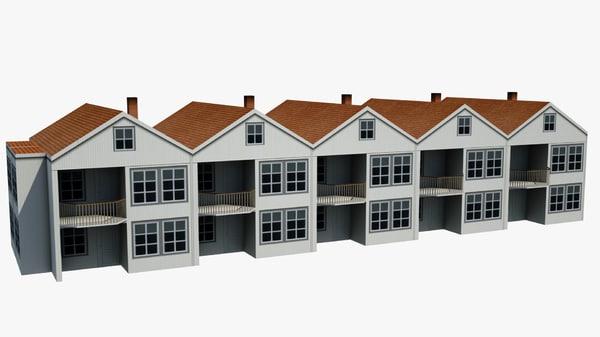 3d model norwegian townhouse house