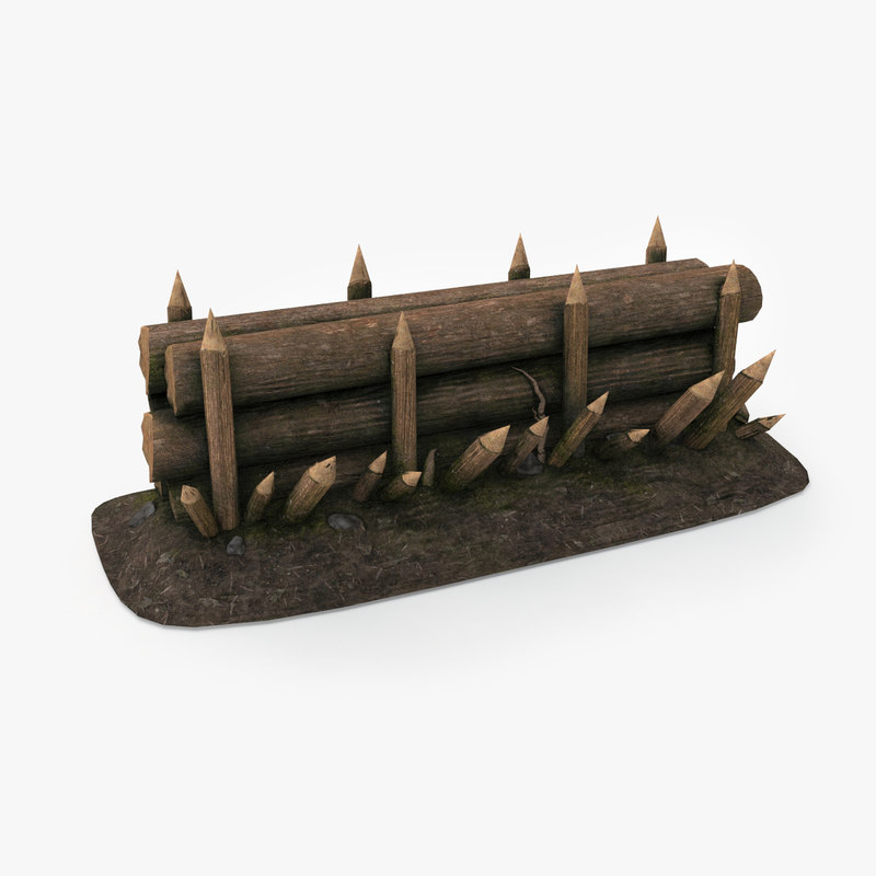 wood barricade pbr 3d model