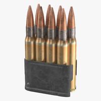 garand ammo clips wwii 3d model