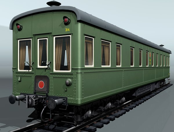 3d 6-axles railcar-salon passenger railcar
